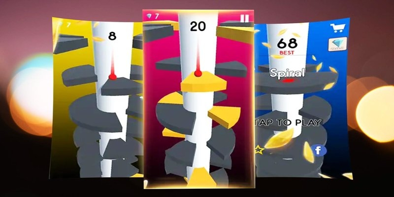 Puzzle games such as Helix Jump